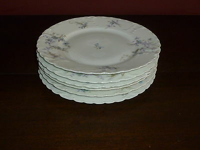 SET OF 6 FINE HAVILAND CHINA LUNCHEON PLATES, BLUE W/ WISPS OF LILAC!