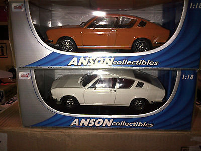 SET OF 2 MODELS AUDI 100 COUPE S ORANGE & WHITE ANSON 1:18 BRAND NEW IN BOX