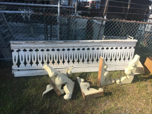 "c1870 flat sawn porch railing balustrade FANCY flower motif cutout 105"" x 28.5"""