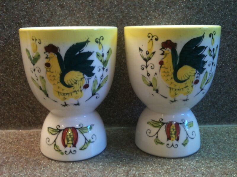 SET OF 2 VINTAGE CERAMIC DOUBLE EGG CUPS ROOSTER CHICKEN HAND PAINTED