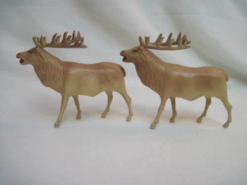 2 Vintage Small 1950's Celluloid Reindeer or Elk Made in USA