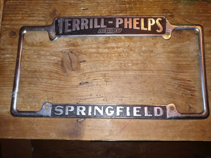 TERRILL PHELPS Chevrolet Dealership Metal License Frame SPRINGFIELD, MO