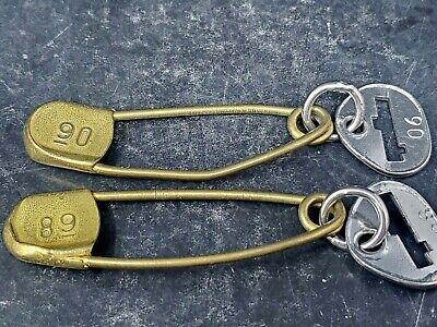 1930s Handbags and Purses Fashion Vtg Pair of 1930s Lrg. Brass Safety Pin Key Tag Duffel Laundry Mail Bag Key Ring $15.04 AT vintagedancer.com
