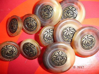 5 Knöpfe beige/braun marmoriert  goldfarbiger Metalleinleger 15mm Annähöse W52.9