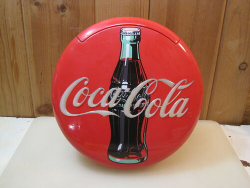 """Vintage  1996 Coca Cola Coke 12"""" Lighted Round Red Button Sign Telephone Phone"""