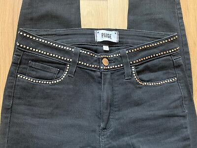 PAIGE DENIM Hoxton Ankle black jeans silver studded waits size 26 excellent cond