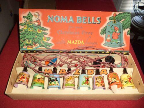 Vintage 1930s NOMA BELLS String of 8 Lights Christmas Theme w/ Original Box