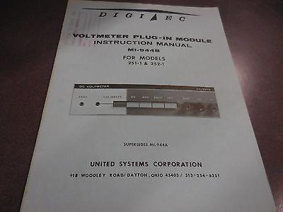 Digitec Voltmeter Plug-in Module Instruction Manual For Mi-944b