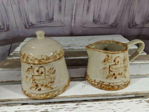 Vintage Spongeware Barb Hall Handmade Pottery Creamer and Sugar Bowl with Lid