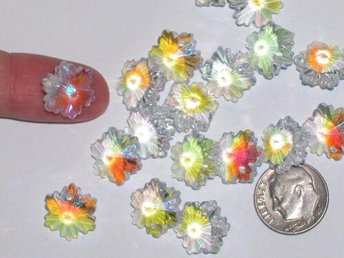 2pc Vintage Crystal Swarovski Snowflake leaf Christmas bead charm hole 14mm