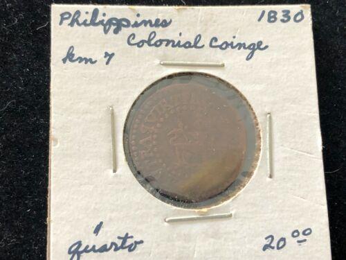 1830 Philippines Spanish Colonial Quarto Copper Coin Lion Coat of Arms RARE