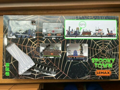 *NEW* Lemax Spooky Town #14380 R.I.P. Railroad Sights and Sounds Train! L@@K