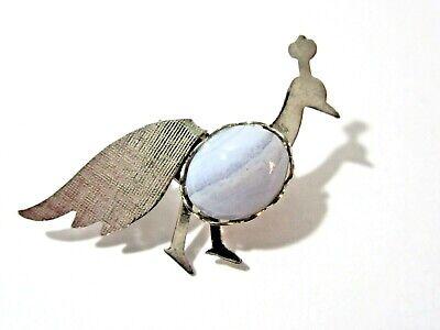 SILVER TONE PEACOCK SMALL BIRD PIN BLUE CABOCHON CUTE](Cute Peacock Costumes)
