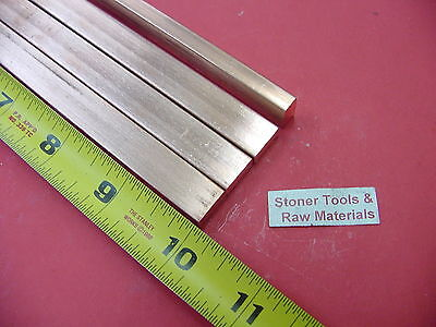 4 Pieces 14x 12 C110 Copper Bar 10 Long Solid Flat .25 Bus Bar Stock H02