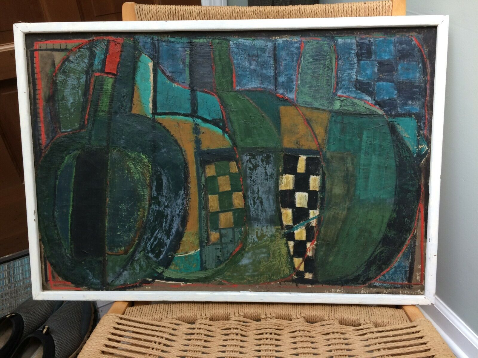 1950 S. Barron Abstract Painting Canadian Artist/Cartoonist/Illustrator 21 x31  - $250.00