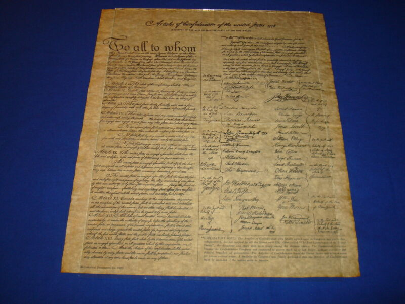 Articles of Confederation of the United States, 1778 Rolled in Tube, Repro!