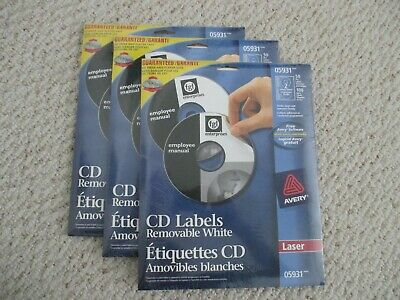 New 3 Pack Lot Avery Laser Cd Labels 5931
