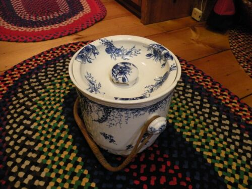 Antique Wedgwood Blue & White Chamber Pot W/ Ratan handle