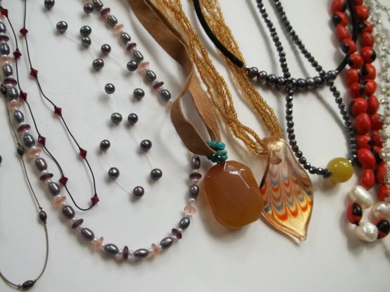 77 pc necklace lot ,sterling silver, gold filled,stones,pearls,glass,great cnd