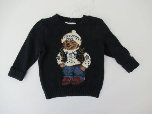 NWT Ralph Lauren Infant Boys Navy Cotton Polo Bear Sweater Sz 3m 6m NEW $125