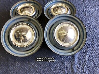 - 55 CHEVY ORIGINAL PAINT RIVETED Steel Wheels Set of 4 OEM GM Nubs 15x5 W/CAPS