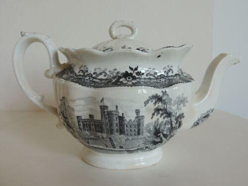 Antique Black Castle Transferware Teapot Staffordshire Historical 1830-1840 Nice