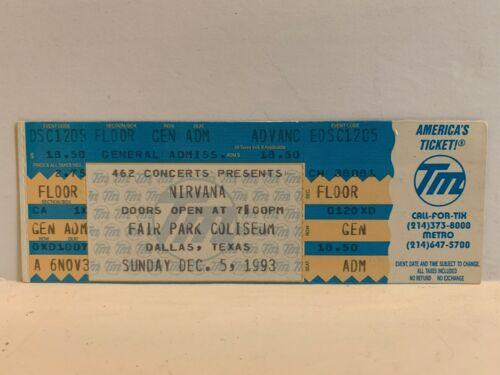 1993 NIRVANA CONCERT TICKET Dallas Texas Fair Park Coliseum RIP KURT COBAIN EX