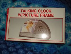 Desk Mantel Shelf 7.25 x 4 Quartz Gray Talking Clock with Picture Frame NIB
