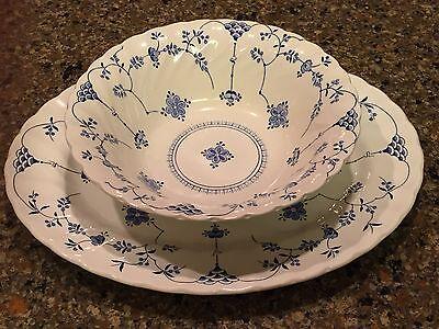 "VTG MYOTT STAFFORDSHIRE FINLANDIA CHINA BLUE WHITE 12"" Platter & 8"" Bowl ENGLAND"