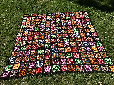 "VTG Granny Squares Crocheted Afghan Blanket Big Bang Black Multi 86"" x 86"""