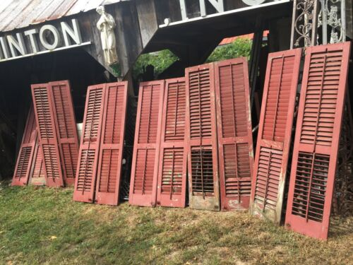 Vtg Pair Barn Red  Wooden Window Shutters Architectural Salvage 62.in x 14.in