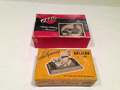 Lot of 2 Vintage FILM SPLICERS Hollywood  & Craig 8mm-16mm in original boxes