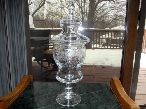"""16"""" Huge Covered Candy Jar Bowl Apothecary Pharmacy Lid Glass Crystal Free Blown"""