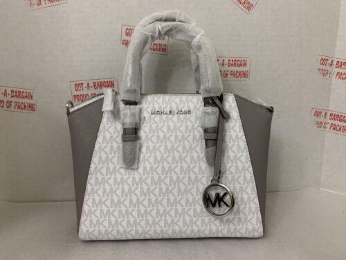 Michael Kors Ciara Bright White MK Medium Messenger Satchel