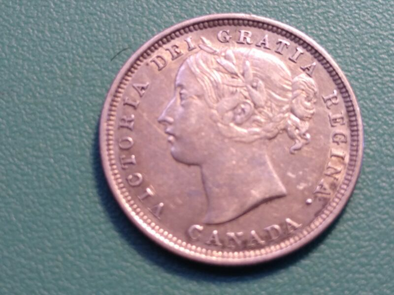 1858 CANADA 20 CENTS .VERY SCARCE COIN. XF