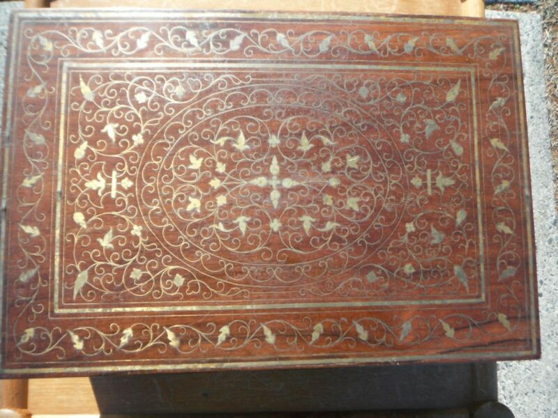 Antique 黄花梨 Huanghuali wood Jewelry Cosmetic Cabinet Boxwith gilt-metal inla