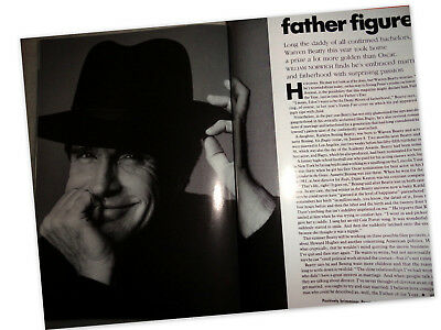 Vtg clippings Warren Beatty Vogue 1992 1990s Irving Penn gq esquire men