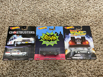 HOT WHEELS 2020 RETRO ENTERTAINMENT LOT OF 3 ECTO-1 BATMOBILE TIME MACHINE