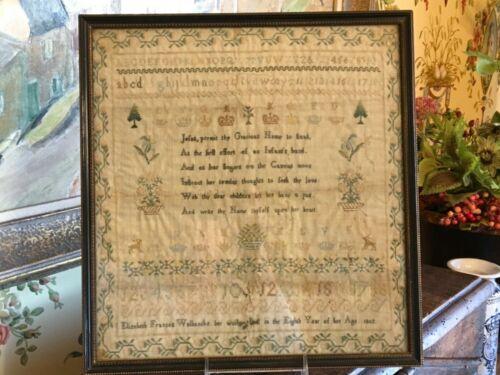 Antique English Hand Stitched Needlework Sampler Circa 1802 Framed