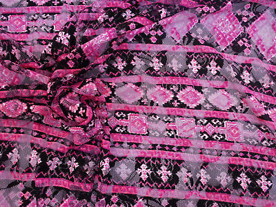 Discount Fabric Stretch Mesh Lace Pink Black White Aztec B702 - Pink Discount