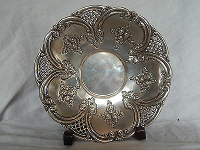 ANTIQUE 900 CONTINENTAL STERLING SILVER  REPOUSSE ROSE & OPEN WORK LG BOWL 250 G