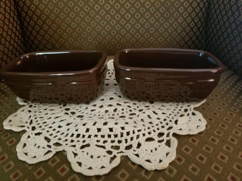2 Longaberger Woven Traditions Pottery Chocolate Brown Dash Prep Bowls~EUC