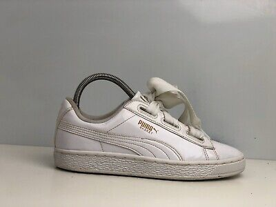 Puma Basket Heart Women's White Patent Leather Trainers UK Size 4