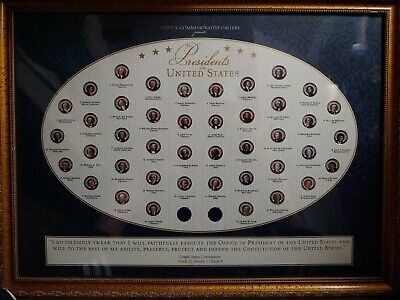 US Commemorative Gallery Presidents of the United States Quarters Framed 19x26