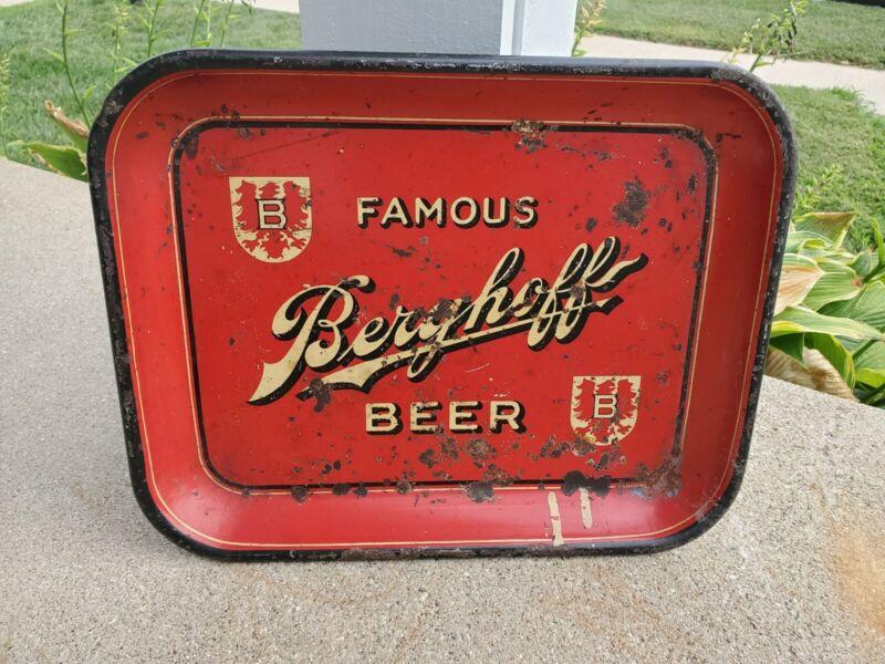 "Original Berghoff Famous Beer Metal Tray Sign 13.25""x10.5"" Fort Wayne, Indiana"