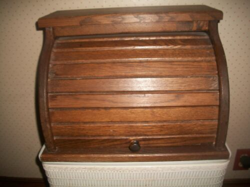 "Vintage Roll Top Sliding Door Bread Box Wooden GREAT PATINA 17""""X13""X12"" ~1970"