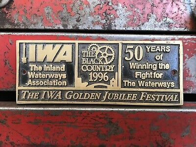 Vintage Inland Water Ways Sign CAST Bronze Brass Industrial Display Prop 1996