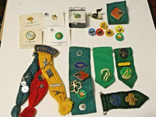 VINTAGE BOY SCOUTS, GIRL SCOUTS AND CUB SCOUTS PINS AND RIBBONS