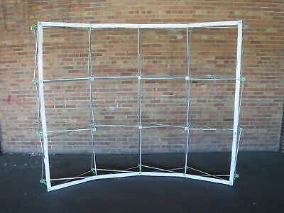Pop Up Curved 10 Trade Show Booth Display Frame W Velcro Led Lights Hard Case