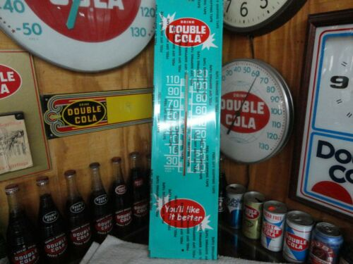 "Reissue MODERN BEAUTIFUL DOUBLE COLA SODA Thermometer Sign Very Nice  7"" X 28"""